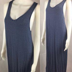 Uniqlo Blue Striped Racerback Maxi Tank Dress Sz L